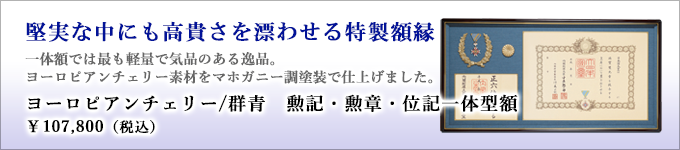 銀座明倫館推奨額 勲記・勲章・位記一体型額(アガチス/群青)