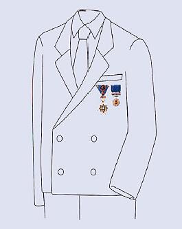複数の勲章等【男性】(瑞宝章綬章と藍綬褒章の例)
